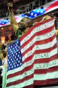Staff Sergeant Douglas should have known that this was defacing a flag but no one during the 2012 Olympics seemed to mind.