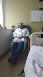 Relaxing on my last day before being released. Being comfortable is key when staying at the VA.