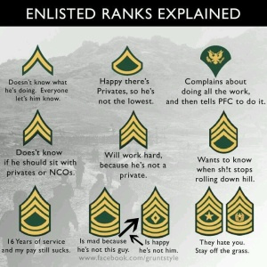 Getting to this image on FB inspired this post. Pretty legit but there is so much more to the E-4 experience. Check out Grunt Style for more funny stuff.