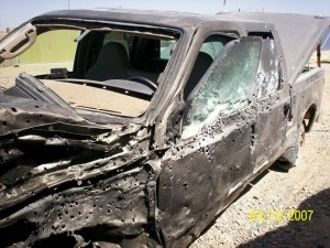 Two U.S. contractors were in this vehicle that was hit by a VBID outside a FOB in Helmand Province. The armor saved them but would vets value what they went through.