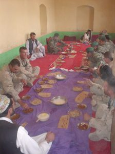 Pashtun hospitality. For many it was their first time eating local food.